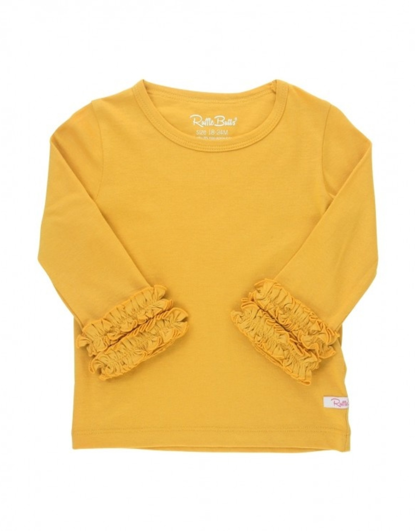RuffleButts Golden Yellow Ruffles lg Sleeve Layering Tee