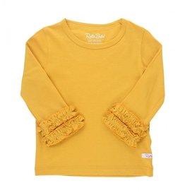RuffleButts Golden Yellow Ruffles Layering Top 4T
