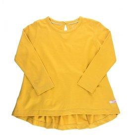 RuffleButts Golden Yellow Lg Sleeve Bow Back Top