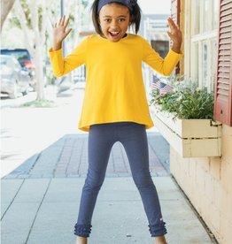 RuffleButts Golden Yellow Lg Sleeve Bow Back Top 4T