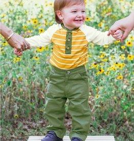 RuggedButts Golden Yellow Stripe Raglan Henley Bodysuit