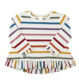 RuffleButts Harvest Rainbow Stripe Ruffle Hem Top 18-24 months
