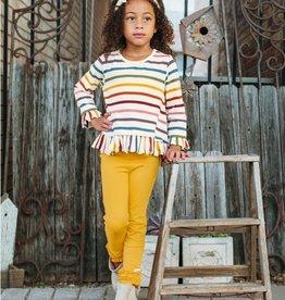 RuffleButts Harvest Rainbow Stripe Ruffle Hem Top 18-24 months