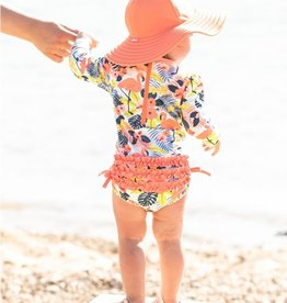 RuffleButts Tropical Flamingo 1 pc Rashguard Swimsuit