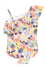 RuffleButts Tropical Flamingo 1 shoulder Ruffle Swimsuit