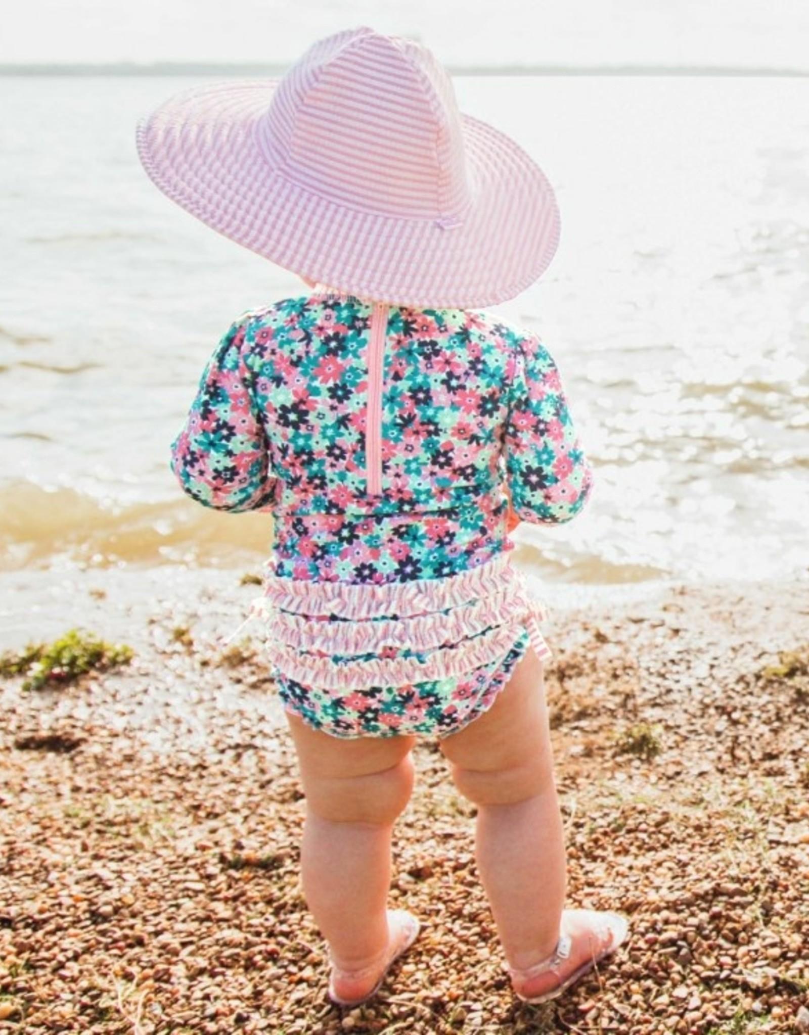 RuffleButts Water Lilies 1 pc Rash Guard Swimsuit