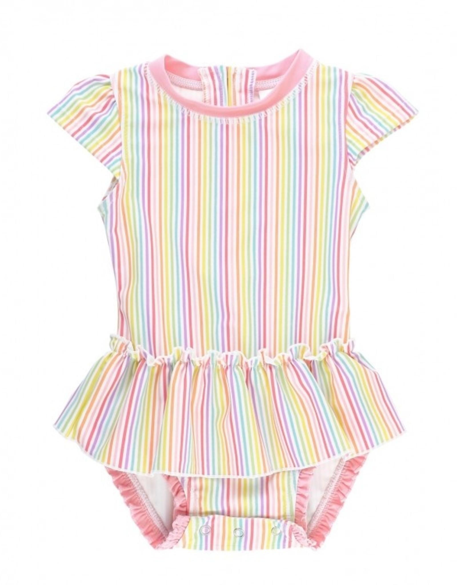RuffleButts Rainbow Stripe Peplum 1 pc. Swimsuit