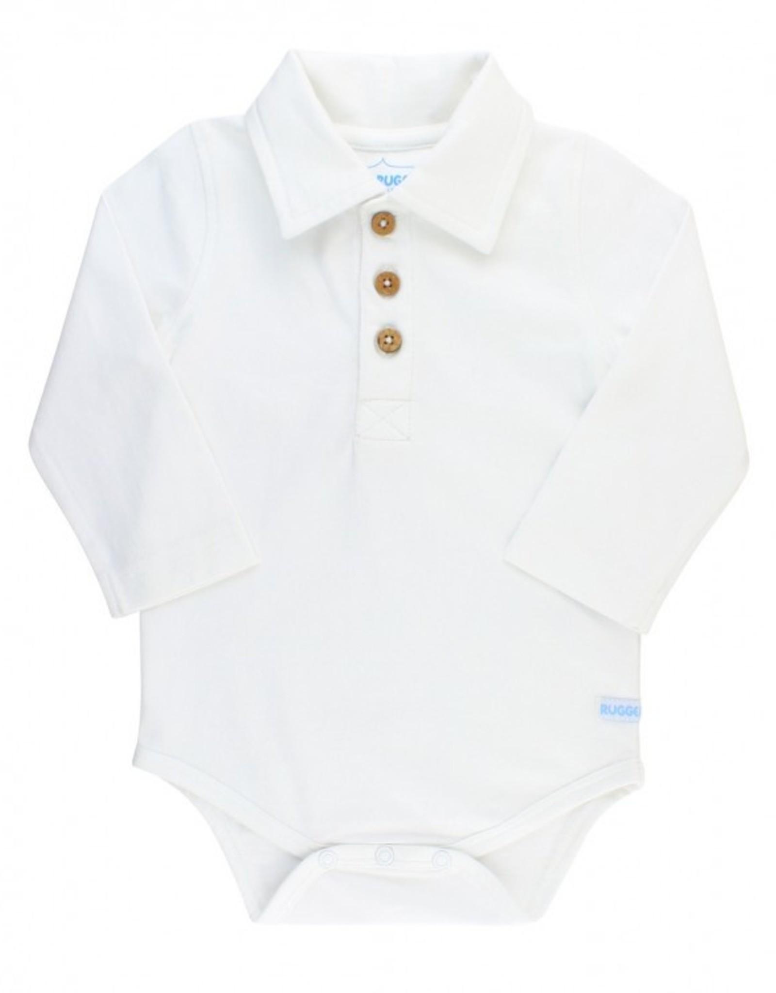 RuggedButts White lng slv Polo Bodysuit