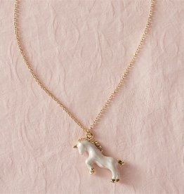 Mud Pie White Unicorn Necklace