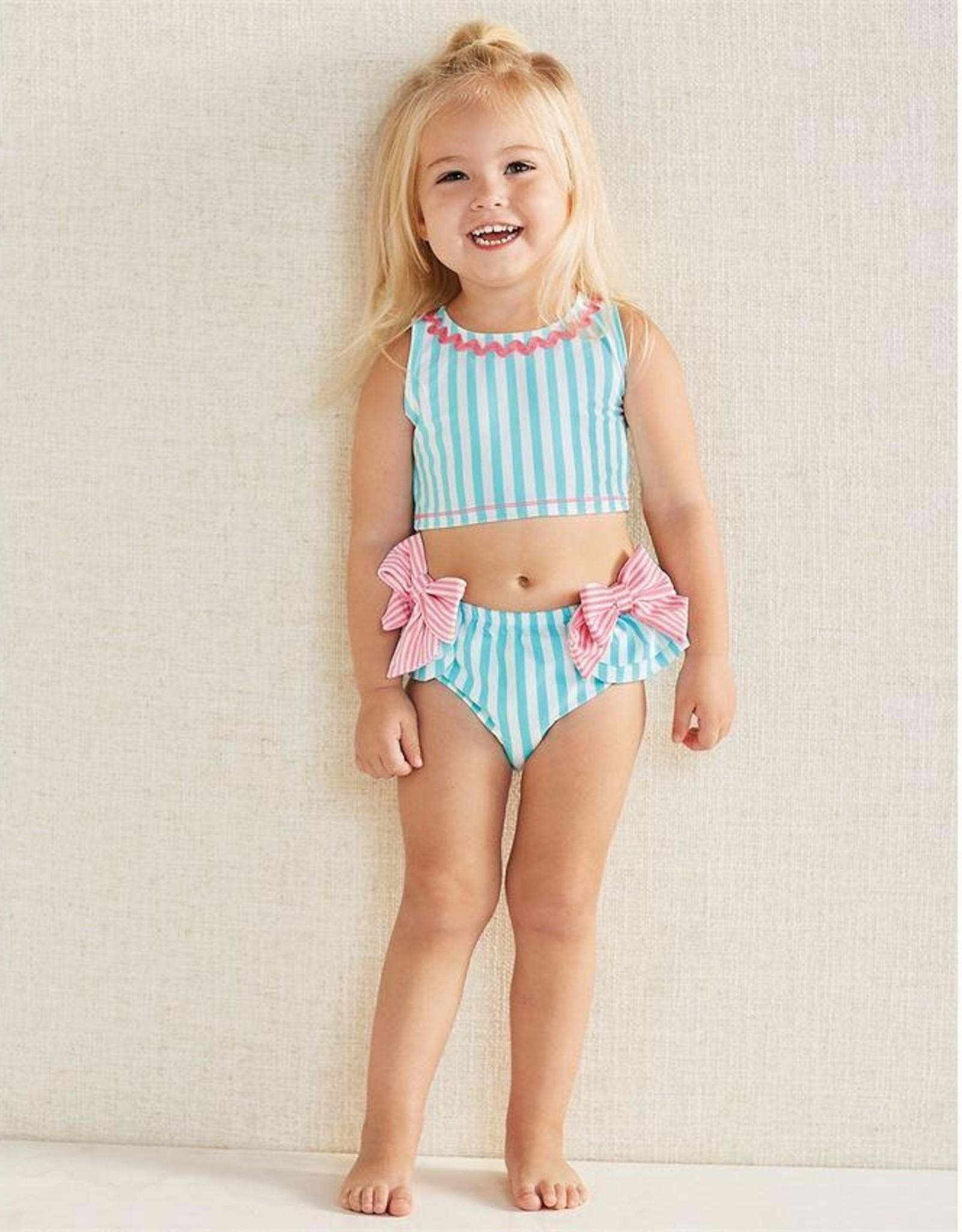 Mud Pie Aqua Stripe & Pink Bows 2 pc swimsuit