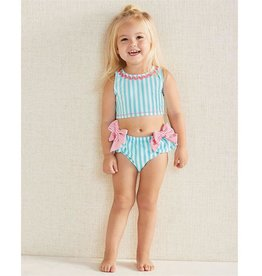 Mud Pie Aqua Stripe & Pink Bows 2 pc swimsuit