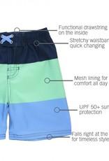 RuggedButts Mint & Blue Color Block Swim Trunks