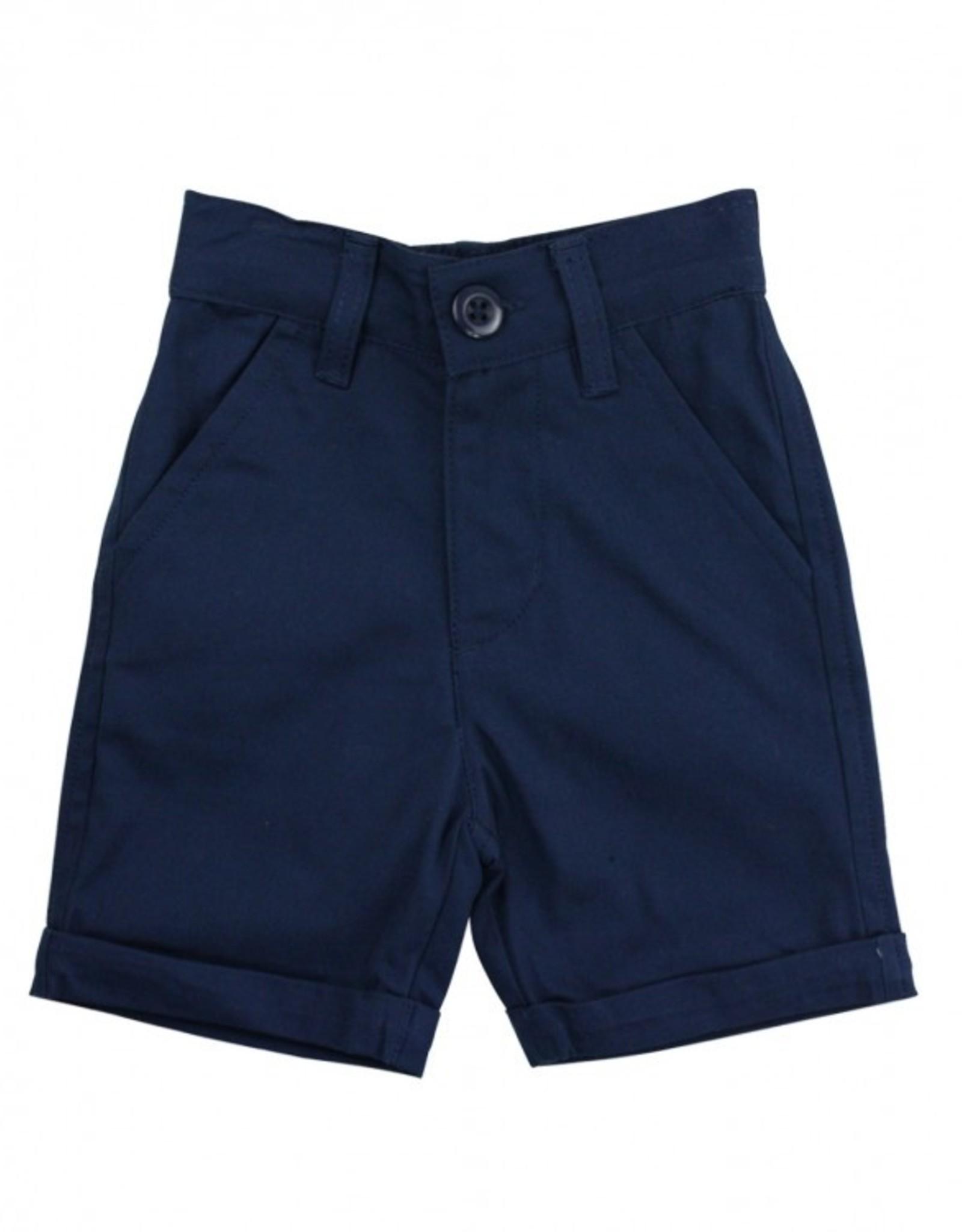 RuggedButts Navy Cuffed Chino Shorts 12-18 months