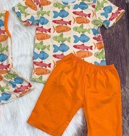 Fish Boy's Set w/ Orange Shorts 2T