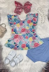 Blue & Pink Watercolor Floral Peplum Set