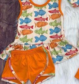 Fish Peplum Set w/ Orange Shorts 6-12 mos.