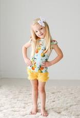 Posh Peanut Mirabella Henley Ruffled Capsleeve Shirt & Varsity Short