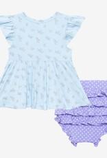 Posh Peanut Grace Henley Peplum Top & Bloomer Set w/ ruffled capslv