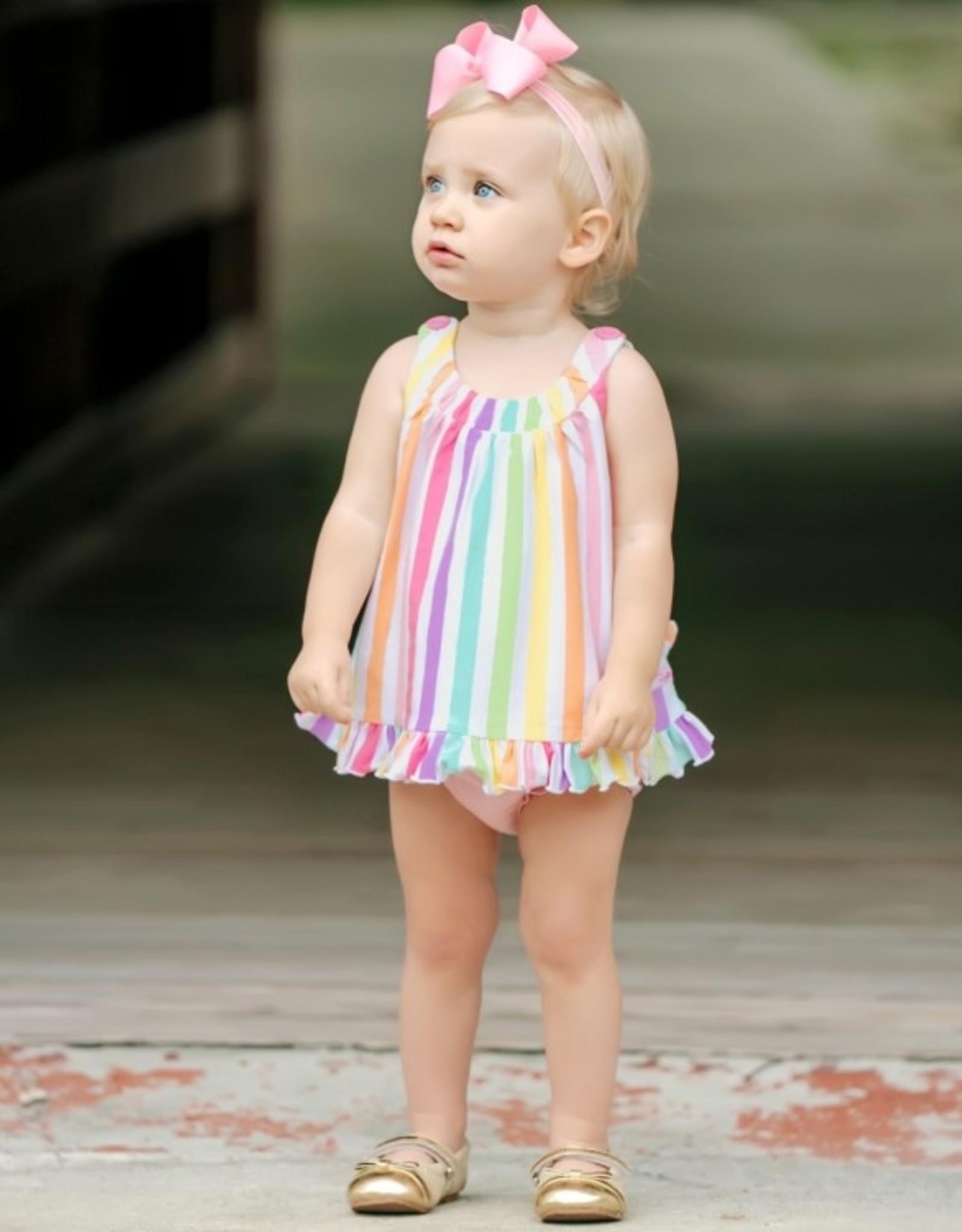 RuffleButts Rainbow Stripe Ruffle Swing Top & Ruffle Bloomer Set