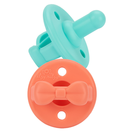 Itzy Ritzy Pacifier Set Aquamarine & Peach Bows