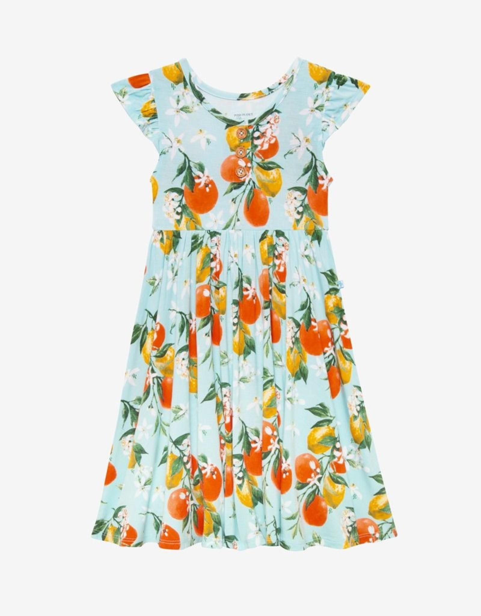 Posh Peanut Mirabella 2T capsleeve Henley Twirl Skirt Bodysuit