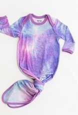 Little Sleepies Purple Watercolor Bamboo Knotted Gown & Headband