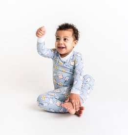 Little Sleepies Blue Breakfast Buddies Bamboo 2pc Pajamas 4T