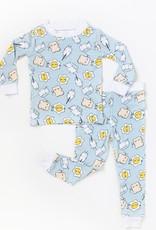 Little Sleepies Blue Breakfast Buddies Bamboo 2pc Pajamas 4T