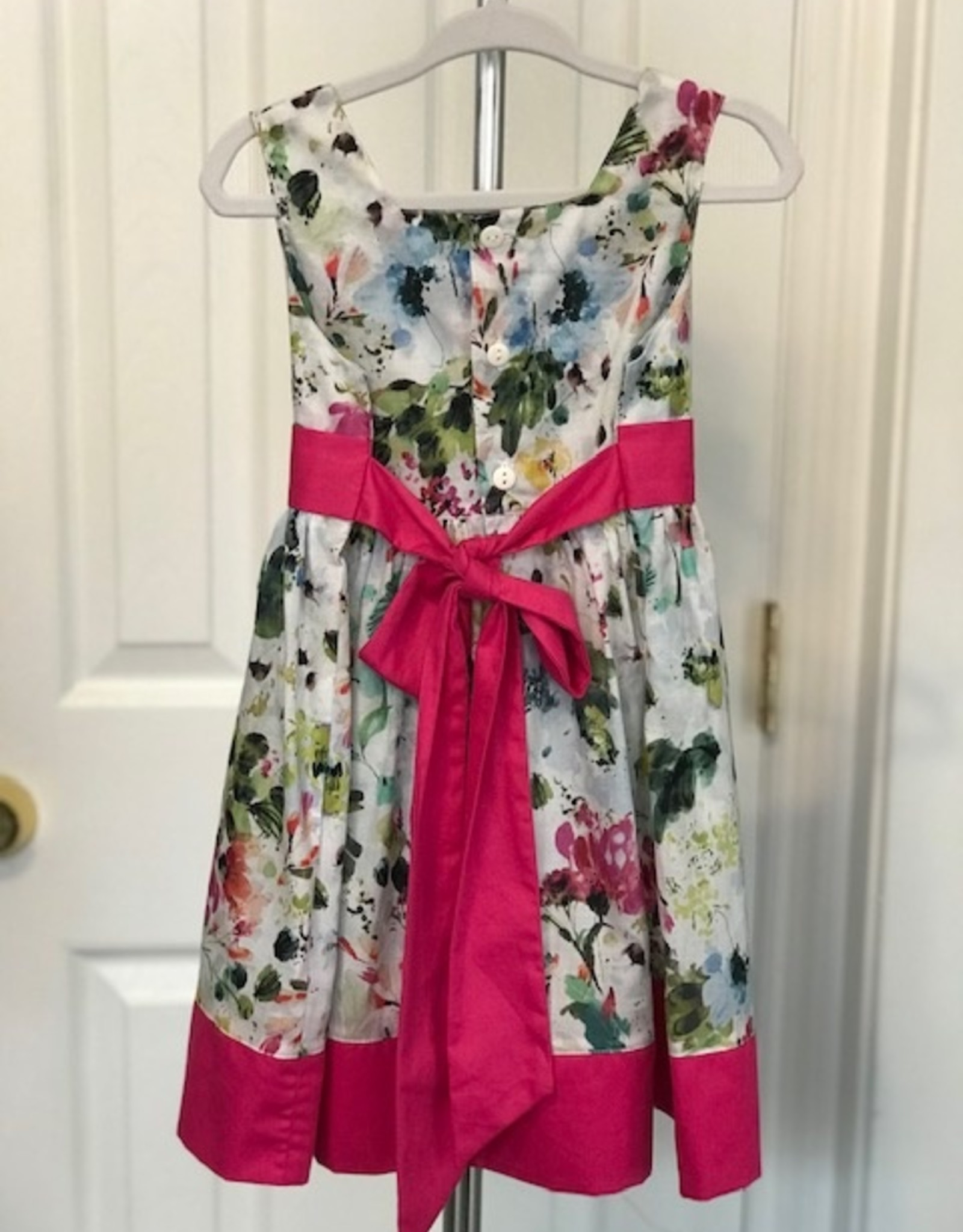 Pink Pleat Floral Dress 2T