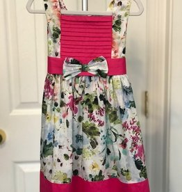 Pink Pleat Floral Dress 2T