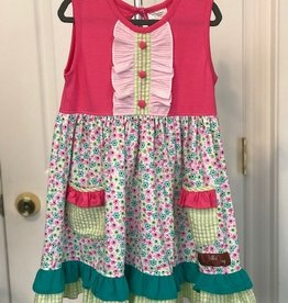 Pink Floral Pocket Dress 3T