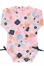 RuffleButts Bouncing Blooms Rash Guard Swimsuit 3-6 months
