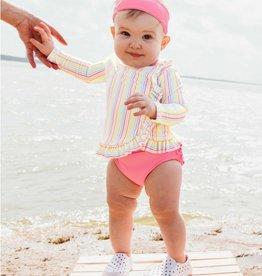 RuffleButts Rainbow Stripe Rash Guard Bikini 3-6 months
