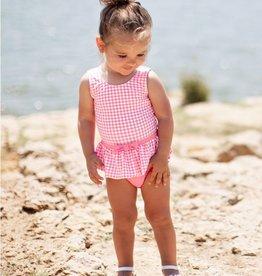 RuffleButts Rose Gingham Skirted Swimsuit 3-6 months