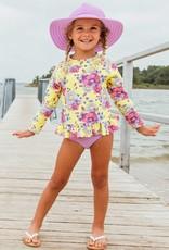 RuffleButts Daisy Delight Rash Guard Bikini
