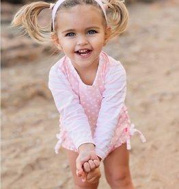 RuffleButts Pink Polka Dot Rash Guard Swimsuit 0-3 months
