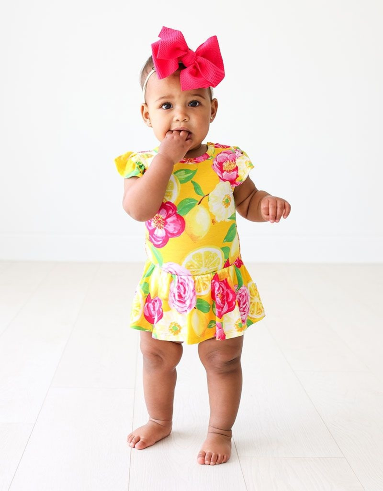 Posh Peanut Annika - Ruffled Capsleeve Basic Twirl Skirt Bodysuit