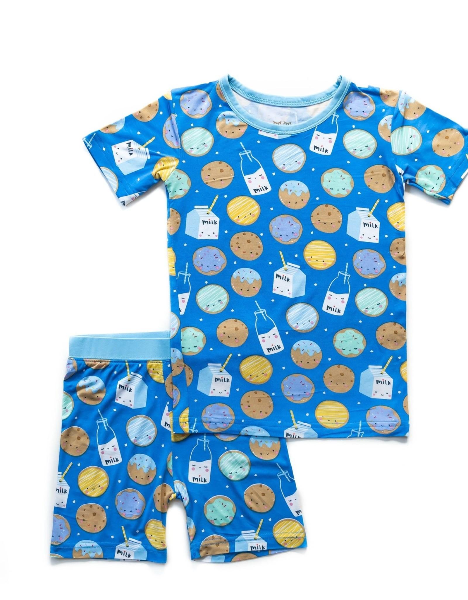 Little Sleepies Blue Cookies & Milk 2 pc Short PJ Set