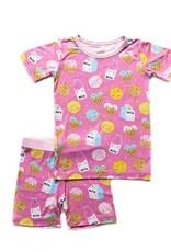 Little Sleepies Pink Cookies & Milk 2 pc Short Pajama Set