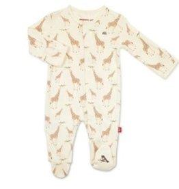 Magnetic Me Cream Jolie Giraffe Newborn Footie - organic cotton