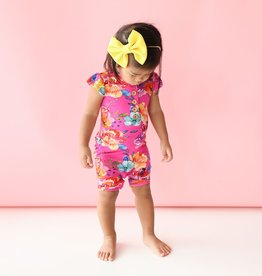 Posh Peanut Aminatu Henley Ruffled cpslv Short Length Romper