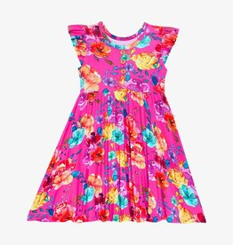 Posh Peanut Aminatu - Ruffled Capsleeve Henley Twirl Dress 2T