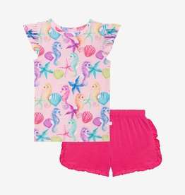 Posh Peanut Coral - Basic Ruffled Cpslv T-Shirt and Ruffled Varsity Short