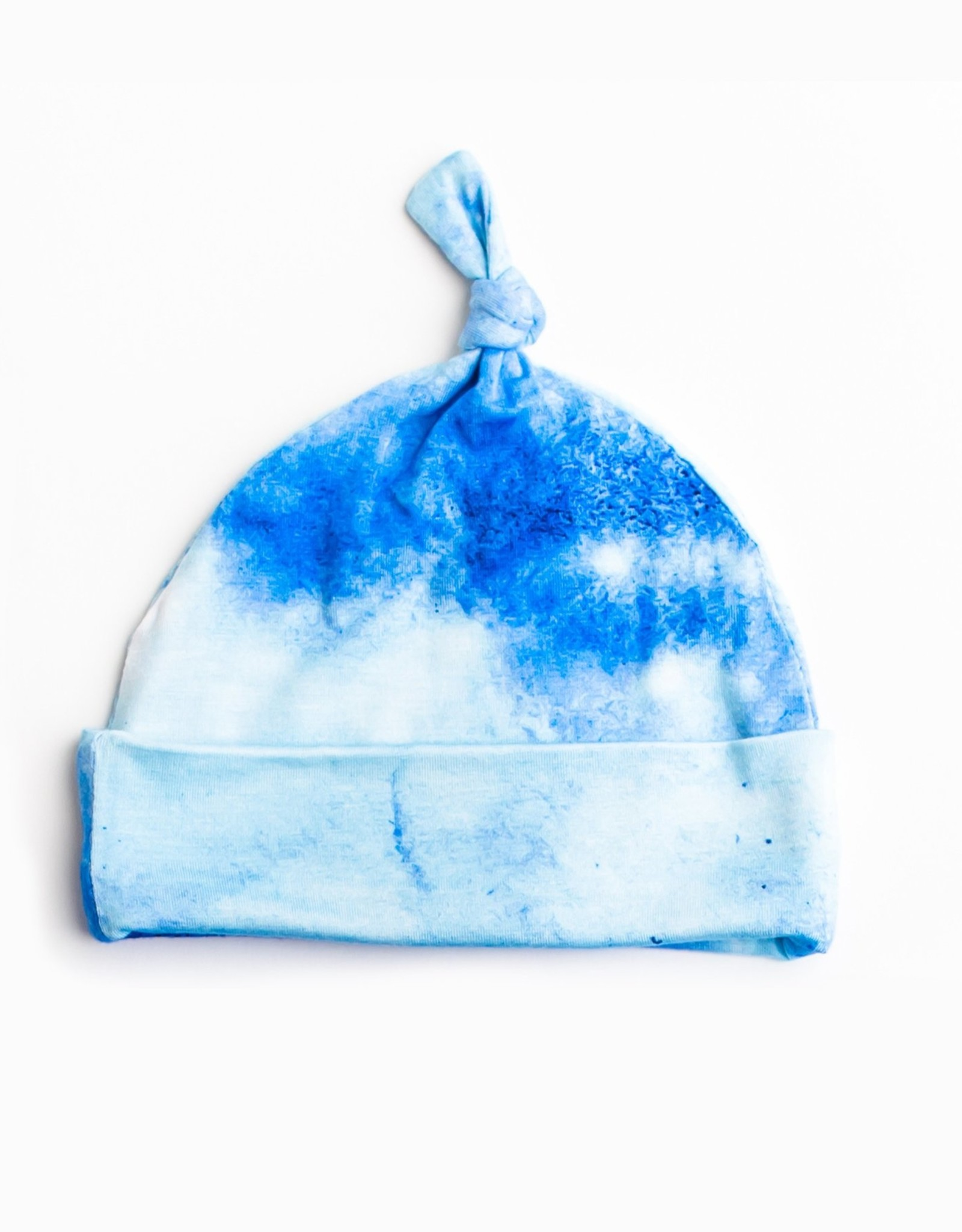Little Sleepies Blue Watercolor Bamboo Top Knot Hat