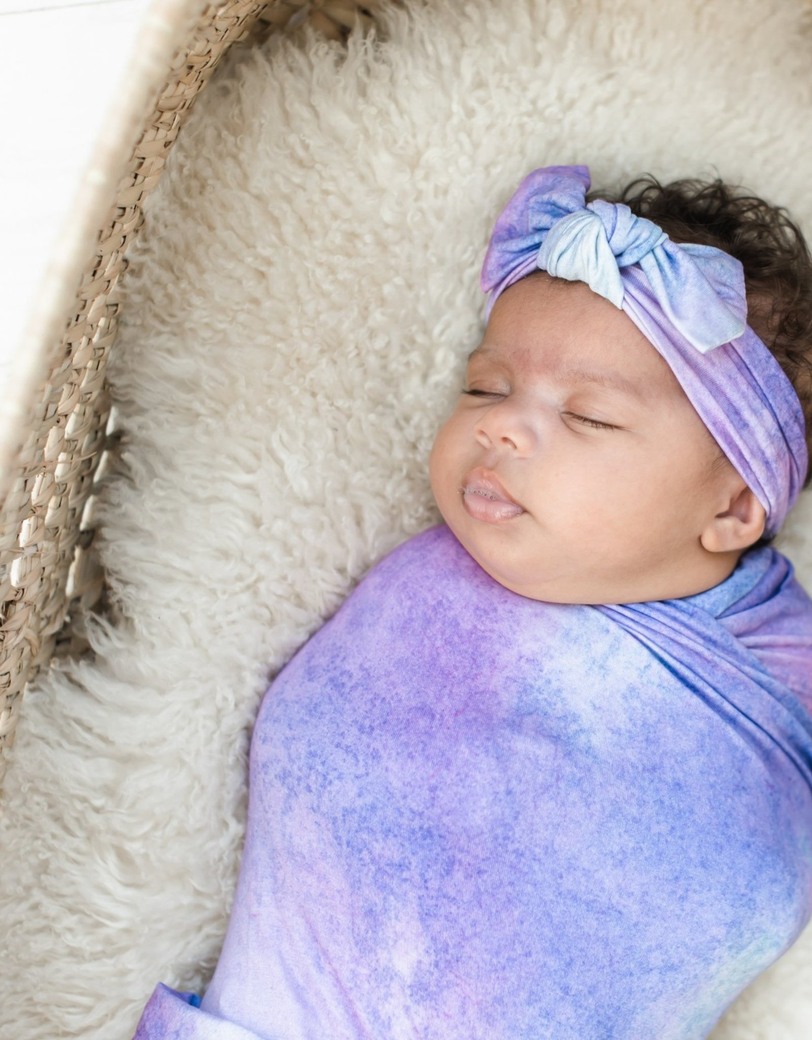 Little Sleepies Purple watercolor Bow Headband