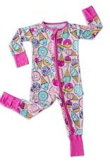 Little Sleepies Pink Sweet Treats Bamboo romper/sleeper