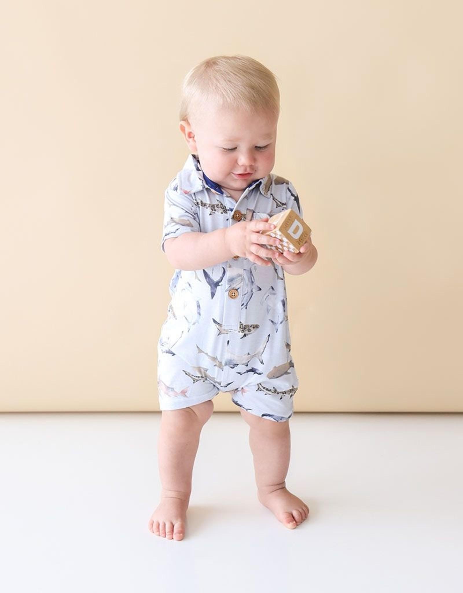 Posh Peanut Maverick - Short Slv Collared Henley Romper