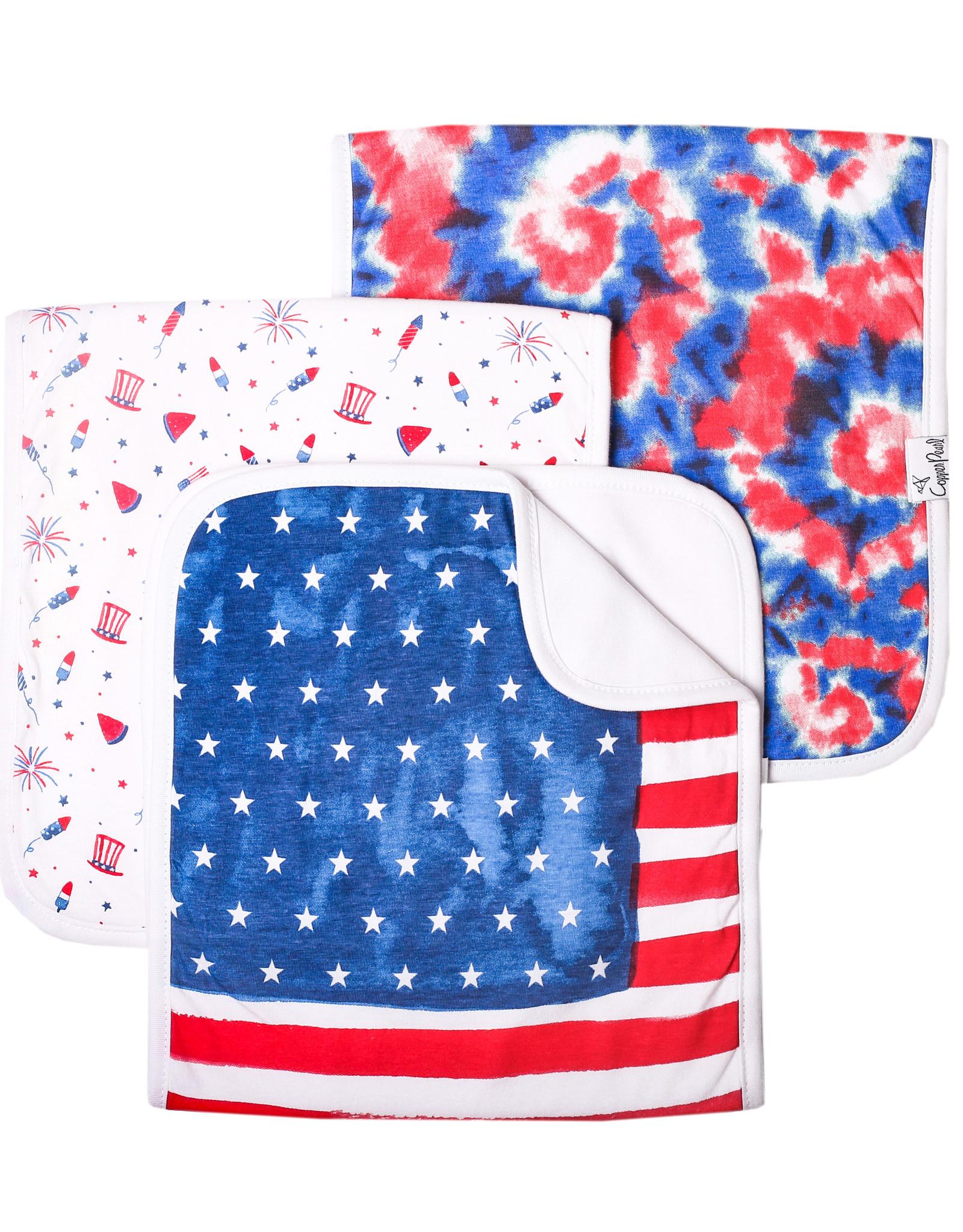 Copper Pearl Patriot Burp Cloth Set