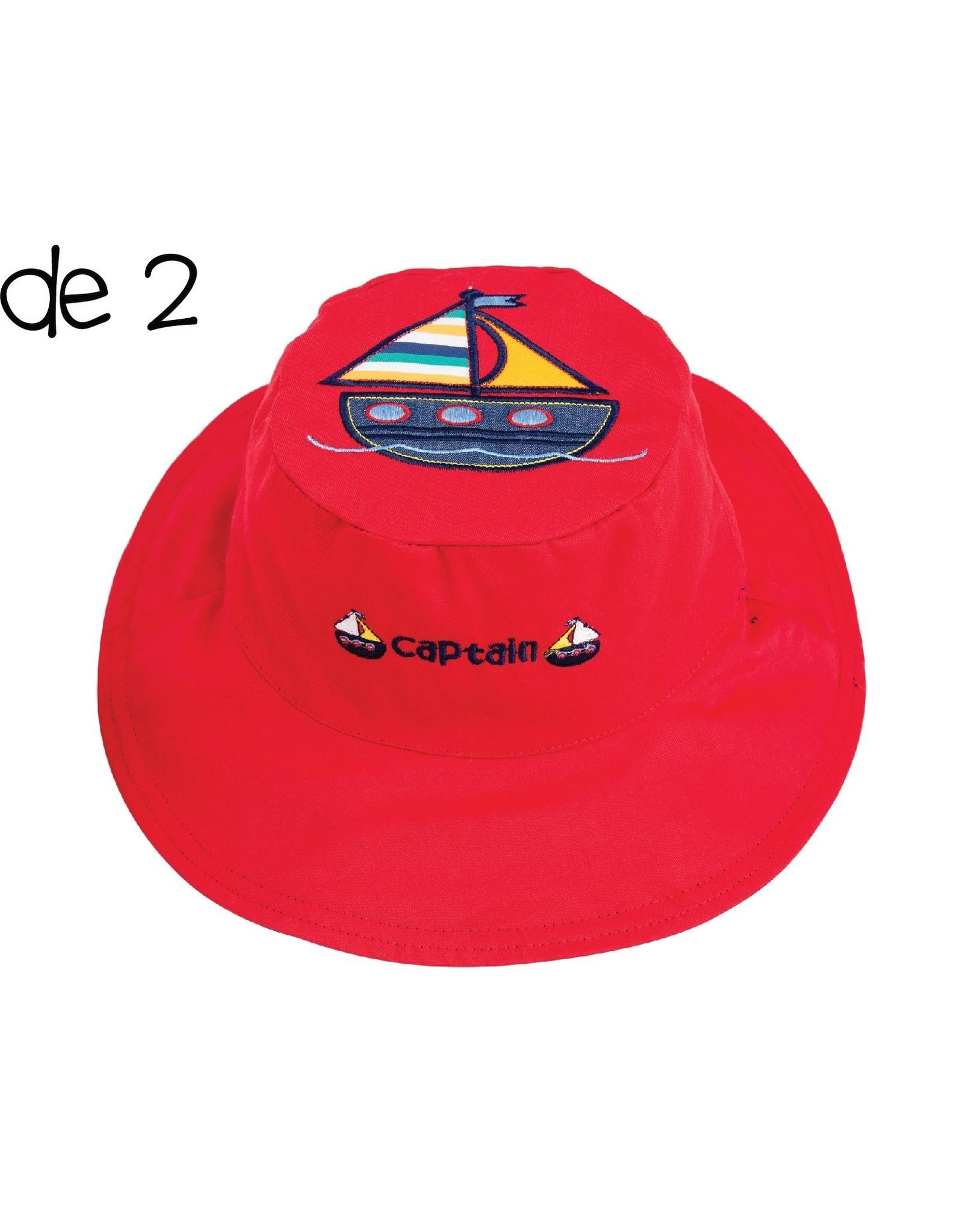 Sun Hat 2-4 yrs : Anchor/Sailboat (reversible)