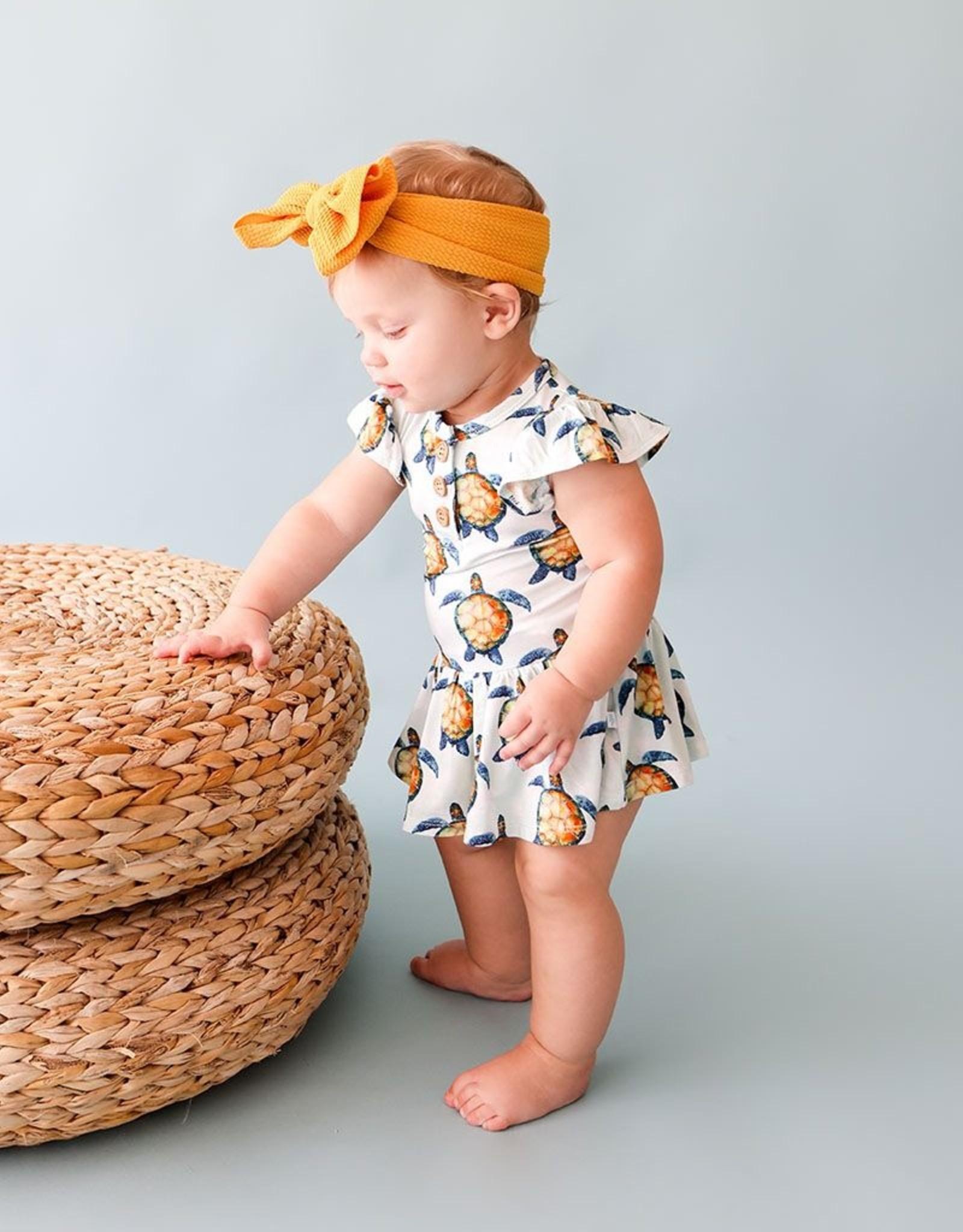 Posh Peanut Cruz Henley Twirl Skirt Bodysuit, ruffled cpslv